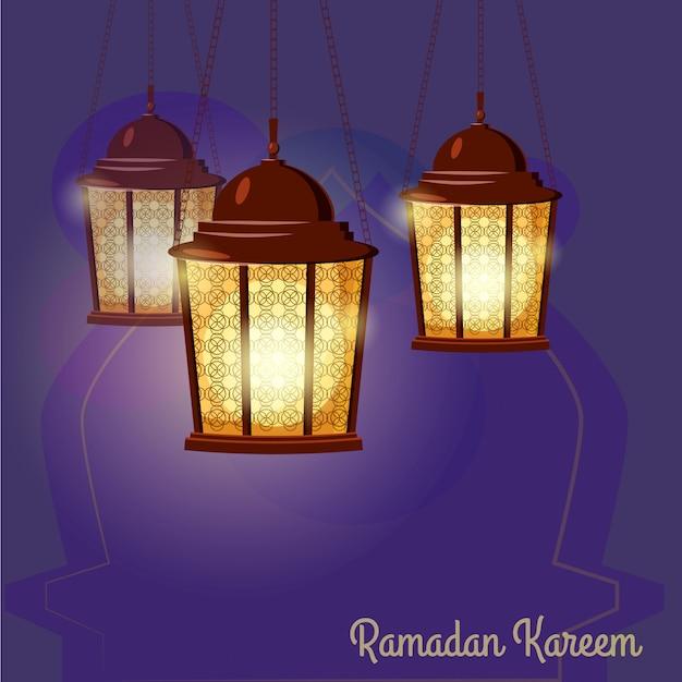 Ramadan kareem greetings intricate arabic lamps, vector illustration