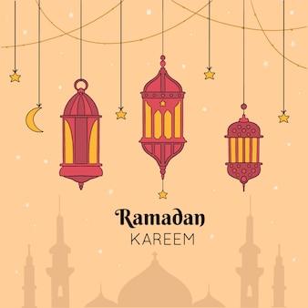 Ramadan kareem in hand drawn
