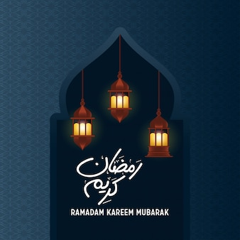 Ramadan kareem hanging lamp in mosque blue background