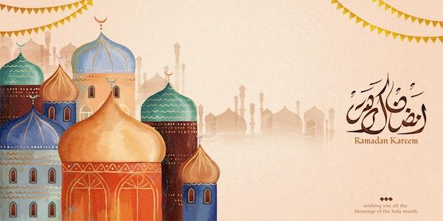 Праздник рамадан карим с красочной мечетью