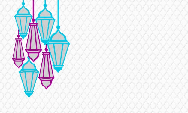 Ramadan kareem horizontal banner. paper cut style hanging lanterns in purple and turquoise colors. islamic traditional geometric pattern. illustration. copy space text area