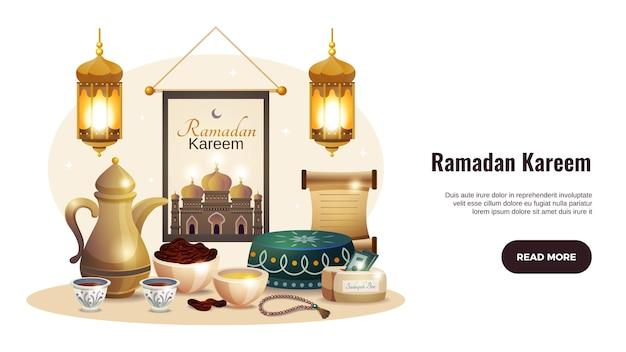 Banner orizzontale di ramadan kareem con lanterne incandescenti e illustrazione di cibo tradizionale