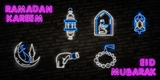 Ramadan kareem icon set neon.