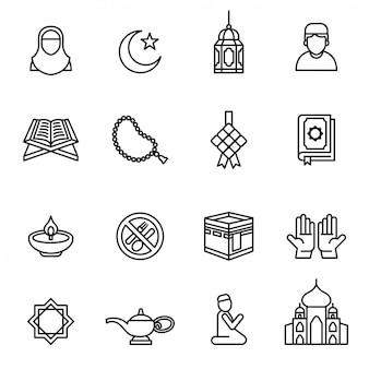 Ramadan kareem icon set on white background. Premium Vector