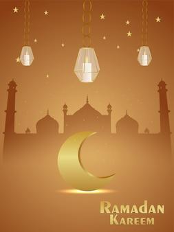 라마단 카림 그림과 황금 달과 모스크와 배경