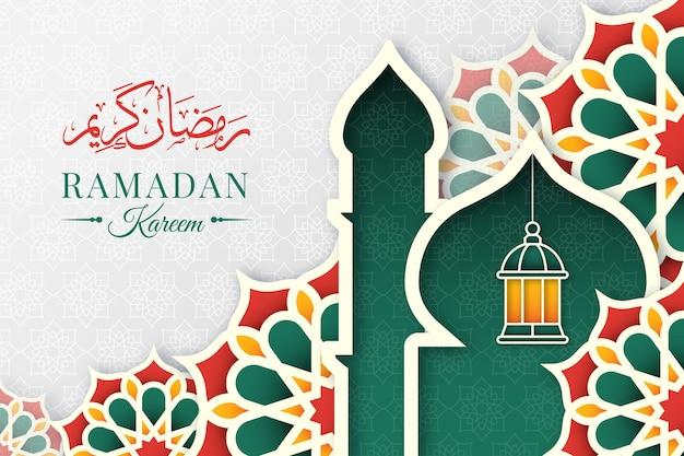 Рамадан карим иллюстрация в бумажном стиле