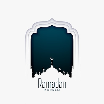Ramadan kareem illustration in paper style with mosque