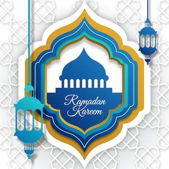 Ramadan kareem illustration in paper style
