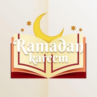 Illustrazione di ramadan kareem in stile carta