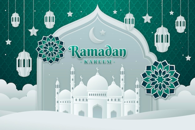 Ramadan kareem illustration in paper style