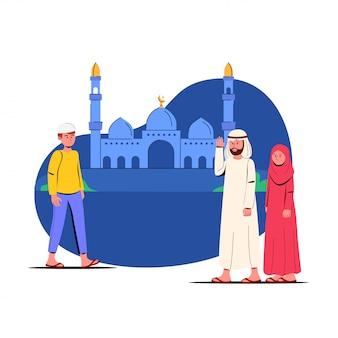 Рамадан карим иллюстрация люди, идущие в мечеть за молитвой