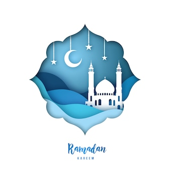 Ramadan kareem illustration with arabic origami mosque.