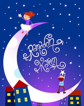 Ramadan kareem illustration with children. handmade font.
