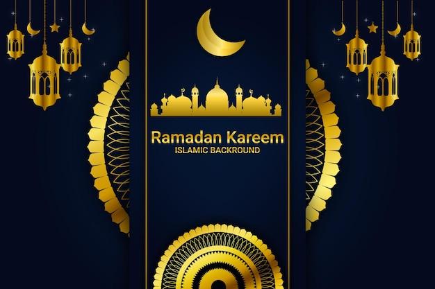 라마단 카림 이슬람 배경색 파란색과 금색