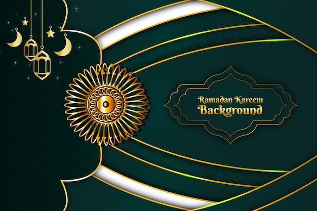 라마단 카림 이슬람 배경색 녹색과 금색