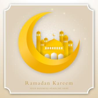 モスクのドームの図とラマダンカリームイスラム背景デザインテンプレート