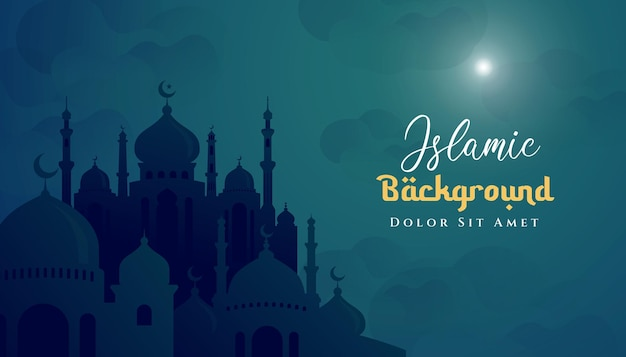 Рамадан карим исламский дизайн фона с иллюстрацией мечети. может использоваться для поздравительной открытки, фона или баннера