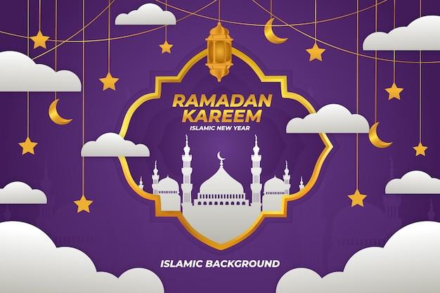 라마단 카림 이슬람 배경, 평면 모스크 보라색 그라데이션