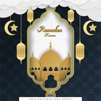 Рамадан карим исламский фон с золотым темно-синим стилем вырезки из бумаги