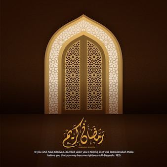 Ramadan kareem islamic background with realistic arabic door