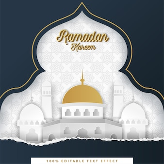 Ramadan kareem islamic background with white dark blue paper cut style