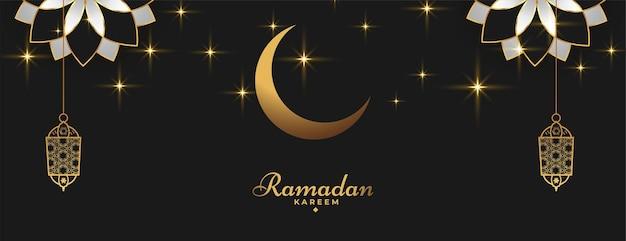 Ramadan kareem islamic banner in golden black color
