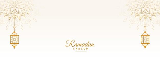 Banner islamico di ramadan kareem con decorazione mandala