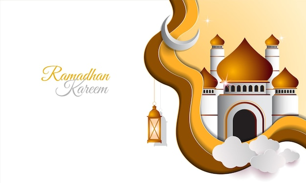 Ramadan kareem islamic banner with paper style