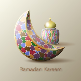 Ramadan kareem islamic crescent pattern and arabic lantern.