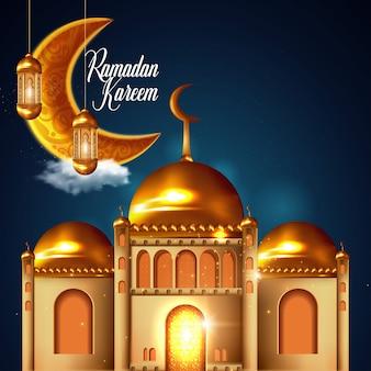 Рамадан карим исламский дизайн полумесяц и купол мечети. иллюстрация