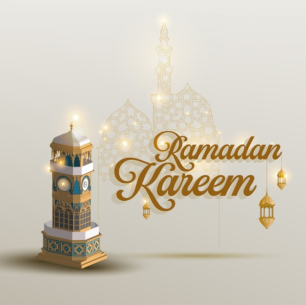 Ramadan kareem islamic design crescent moon and mosque lantern with arabic pattern and calligraphy