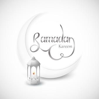 Ramadan kareem islamic design crescent moon on white abstract background