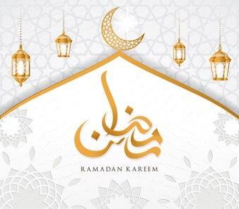Ramadan Kareem islamic design mosque dome and crescent