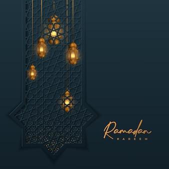 Ramadan kareem islamic design with golden lantern background geometric