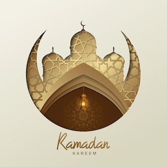 Ramadan kareem islamic design with golden lantern and mosque silhouette geometric