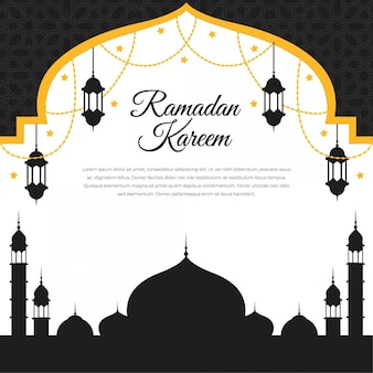 Ramadan kareem islamic design with lantern and silhouette mosque