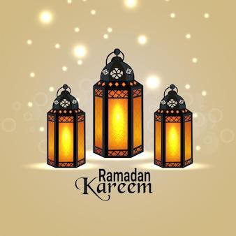 Ramadan kareem islamic festival background with arabic islamic lantern