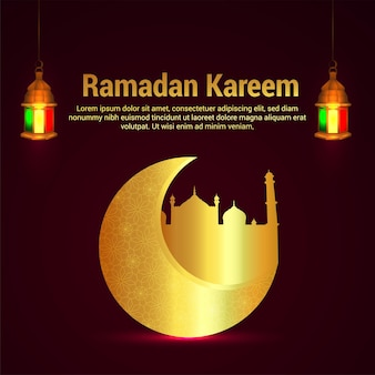 Ramadan kareem islamic festival background with gold moon and mosque and lantern