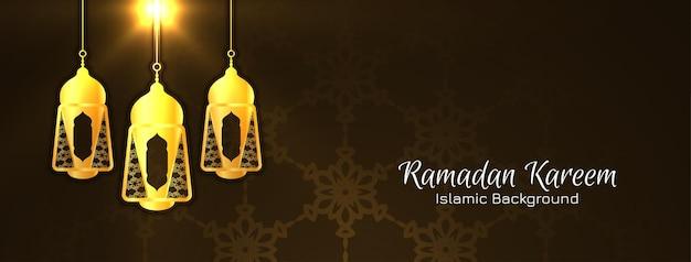 Fondo di festival islamico di ramadan kareem con il vettore delle lanterne
