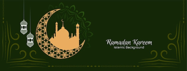 Ramadan kareem islamic festival banner with crescent moon