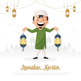 Ramadan kareem islamic festival greeting card design template