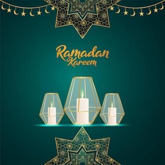 Рамадан карим исламский фестиваль поздравительная открытка с творческой золотой луной и фонарем