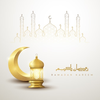 Ramadan kareem islamic greeting background design with gold crescent and lantern