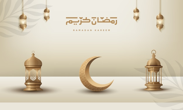 Ramadan kareem islamic greeting background design with gold crescent moon and lantern