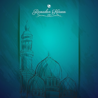Ramadan Kareem islamic greeting background outline mosque sketch