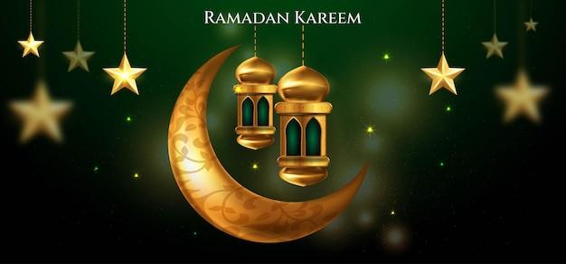 Ramadan kareem islamic greeting background with crescent moon , lantern, star and arabic pattern