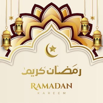 Ramadan kareem islamic greeting background with lantern