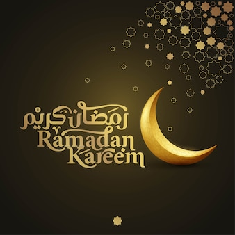 Ramadan kareem islamic greeting banner background with arabic and latin typography and crescent illustration