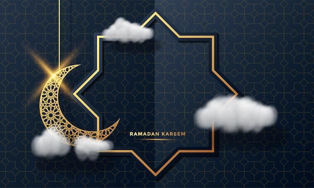 라마단 카림 이슬람 인사말 카드 배경 일러스트 레이션
