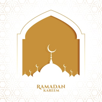 Ramadan kareem islamic greeting in paper style